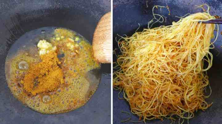 Fry curry powder and vermicelli noodles