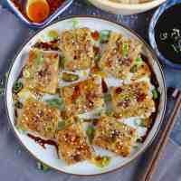 Chinese turnip cake with dressing