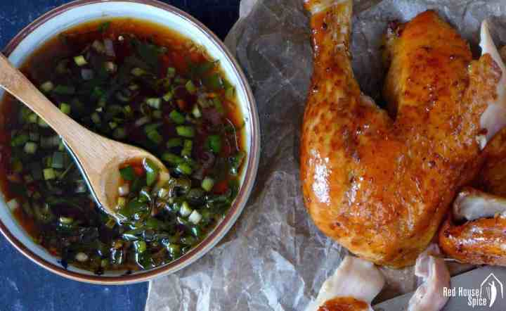 Scallion & ginger sauce with a chicken leg