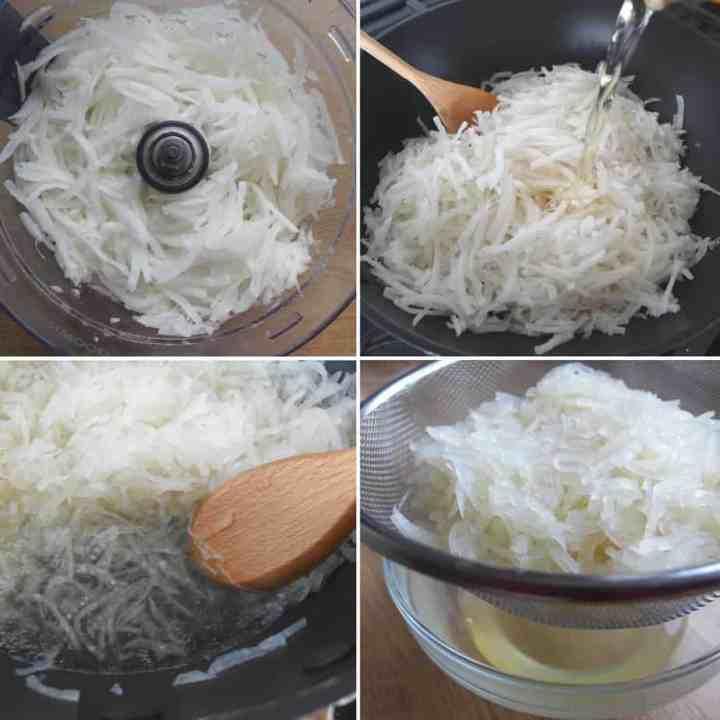 cooking shredded daikon radish