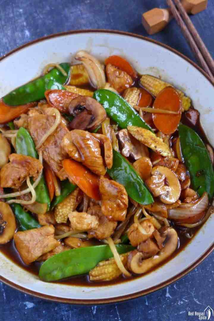 Chinese chicken chop suey in a plate