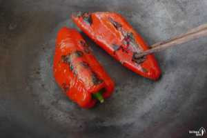 Roasting pepper in a pan