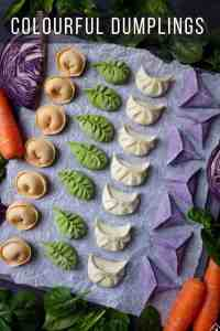 dumplings made in four colours: orange, green, white and purple