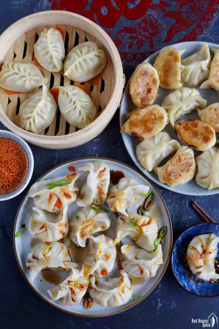 Chinese dumplings cooked in three ways: boiled, pan-fried & steamed