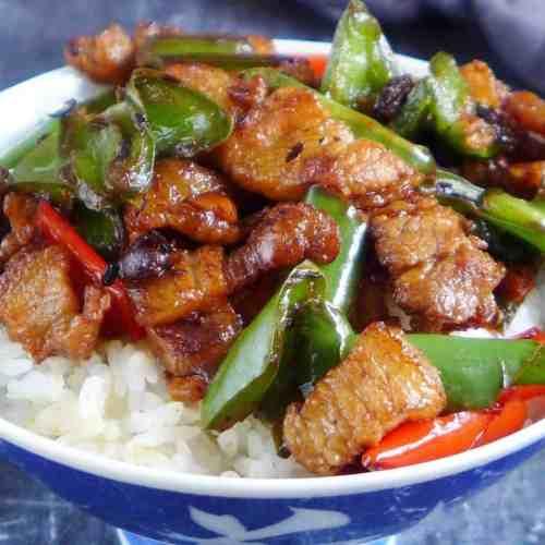 Hunan pork stir-fry over rice