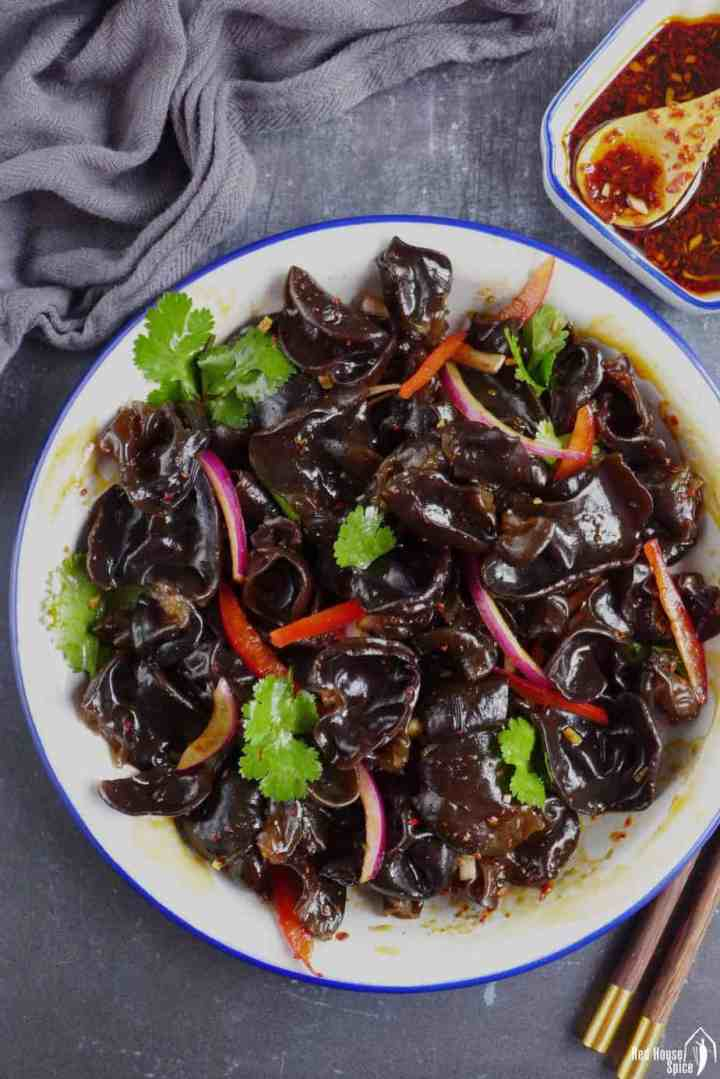 Chinese wood ear mushroom salad with a spicy dressing