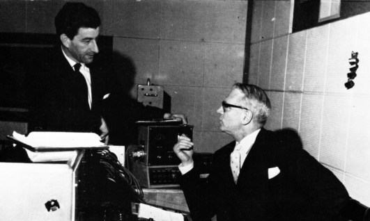 Peter Morley and Sir Laurence Olivier recording for the narration on the State Funeral of Sir Winston Churchill