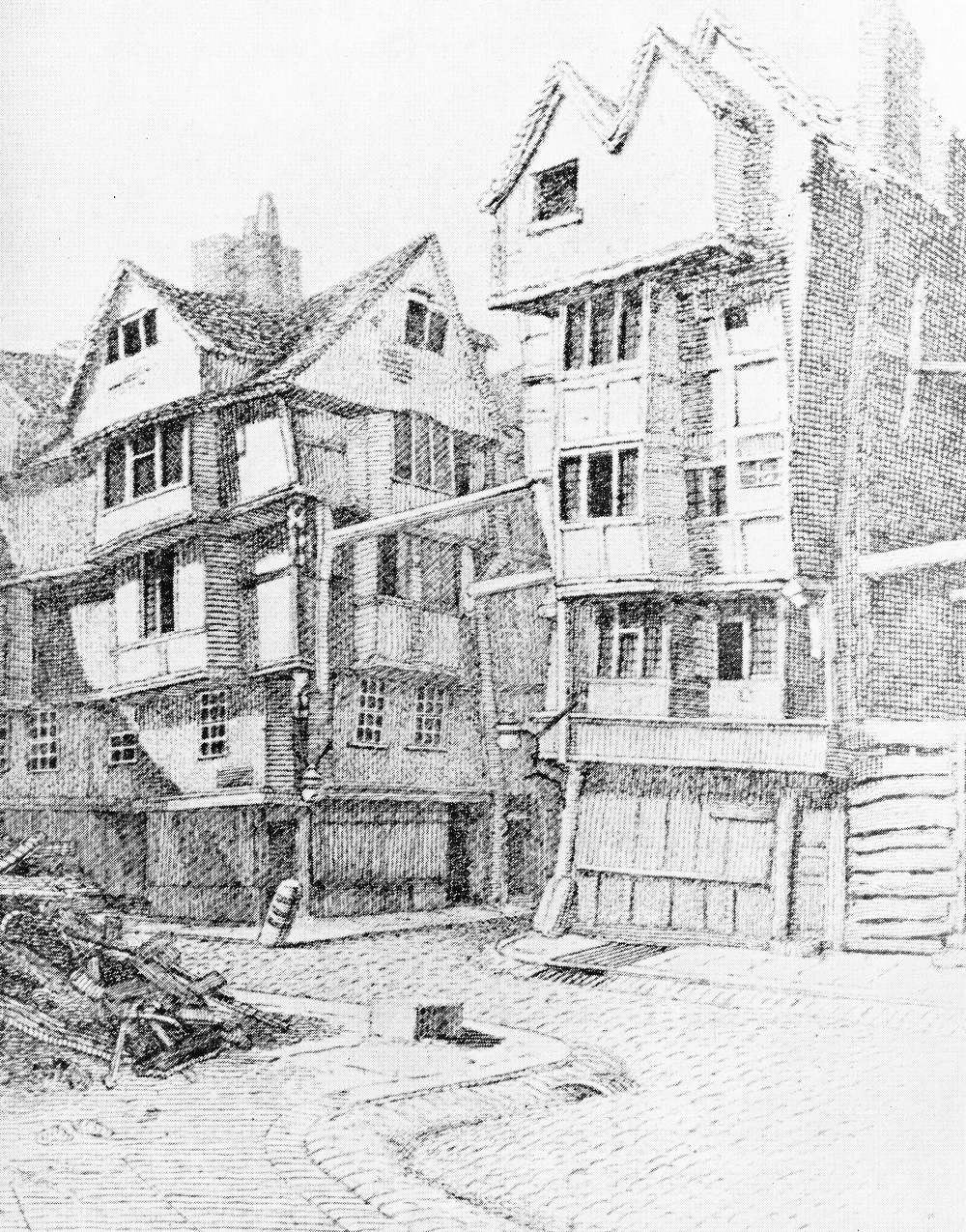 These houses in Butcher Row in 1798 look as if they might fall down at any moment. In fact one seems to have done just that at bottom left.