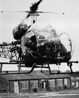 Peter Lang, cameraman, took a trip in this helicopter to obtain motorway shots
