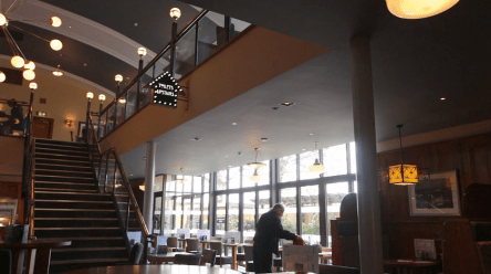 A view of the inside of the Showman pub 2016 with stairs central.