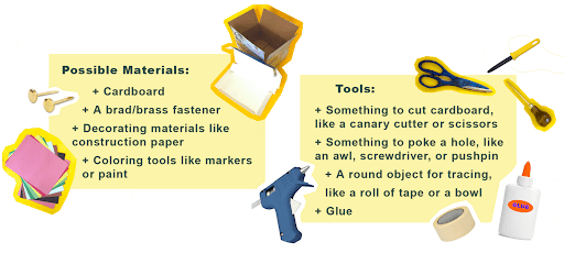Possible Materials. Cardboard. A brass fastener. Decorating materials like construction paper. Coloring tools like markers or paint. Tools. Something to cut cardboard with like a canary cutter or scissors. Something to poke a hole with like an awl, screwdriver or pushpin. A round object for tracing, like a roll of tape or bowl. Glue.