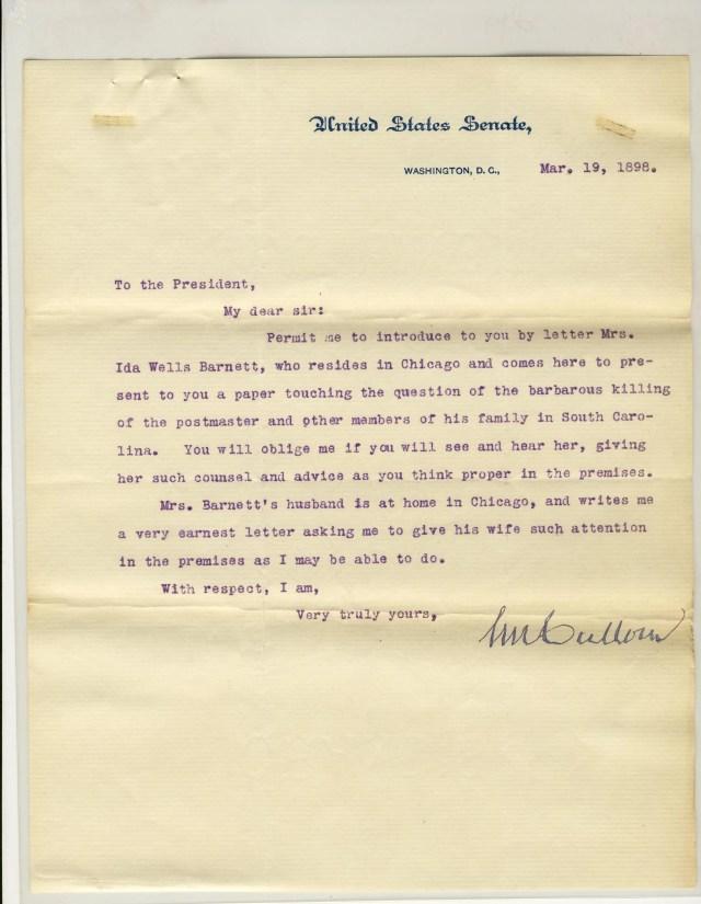 Letter from Republican Senator Shelby Moore Cullom introducing Ida Wells Barnett