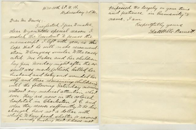 Letter from Ida Wells Barnett