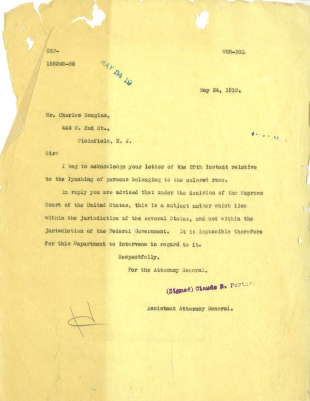 Letter from Claude R. Porter, Asst Attorney General to Charles Douglas, 05/24/1919