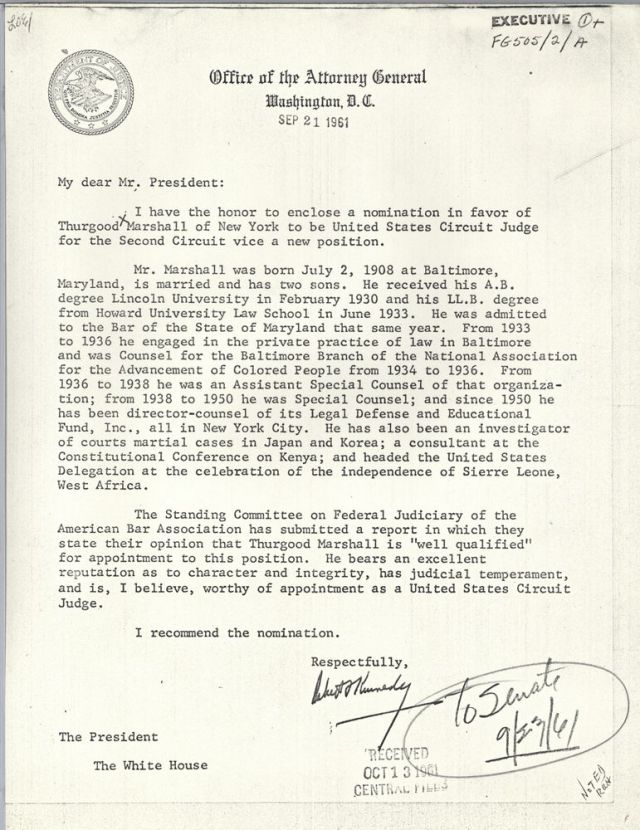 Letter from Attorney General Robert F. Kennedy to President John F. Kennedy; the handwritten note indicates the letter was sent to the Senate on September 23, 1961. [JFKWHCFCHRON-014-009-p0131]