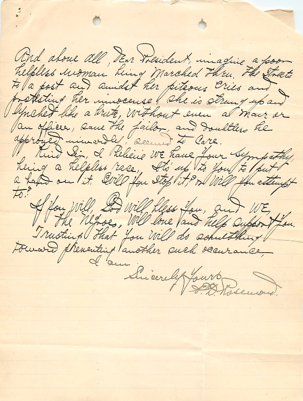Letter to President William Howard Taft from E. D. Rosemond (NAID 583895), page 2