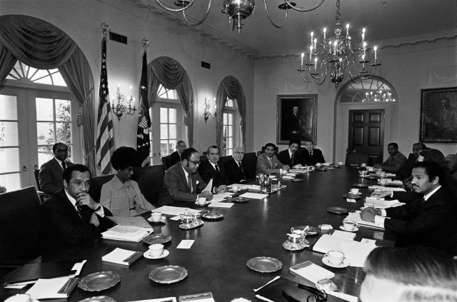 President Nixon meets with members of the Congressional Black Caucus in the Cabinet Room (NAID 7822054)