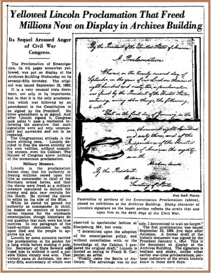 Emancipation+Proclamation+75th+Anniversary+Display+-+Washington+Post,+Sept.+26,+1937