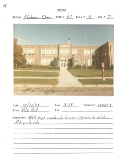 An example of later evidence submitted to the court; 1973 site surveys of Denver schools. Stedman, still open today, is located in North Park Hill.