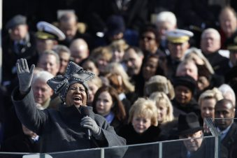 P012009KB-0506: Aretha Franklin performs during the 2009 Inauguration of President Barack Obama at the U.S. Capitol, January 20, 2009. Courtesy Barack Obama Presidential Library.
