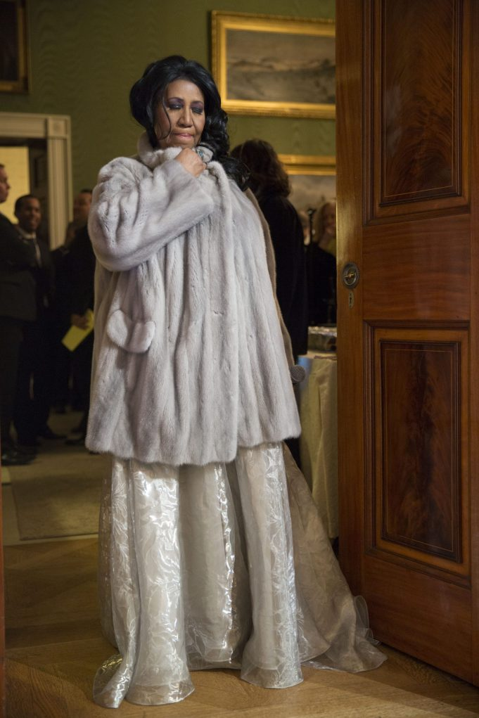 """P041415PS-0977: Aretha Franklin prepares to perform during """"The Gospel Tradition: In Performance at the White House"""" in the East Room, April 14, 2015. Courtesy Barack Obama Presidential Library."""