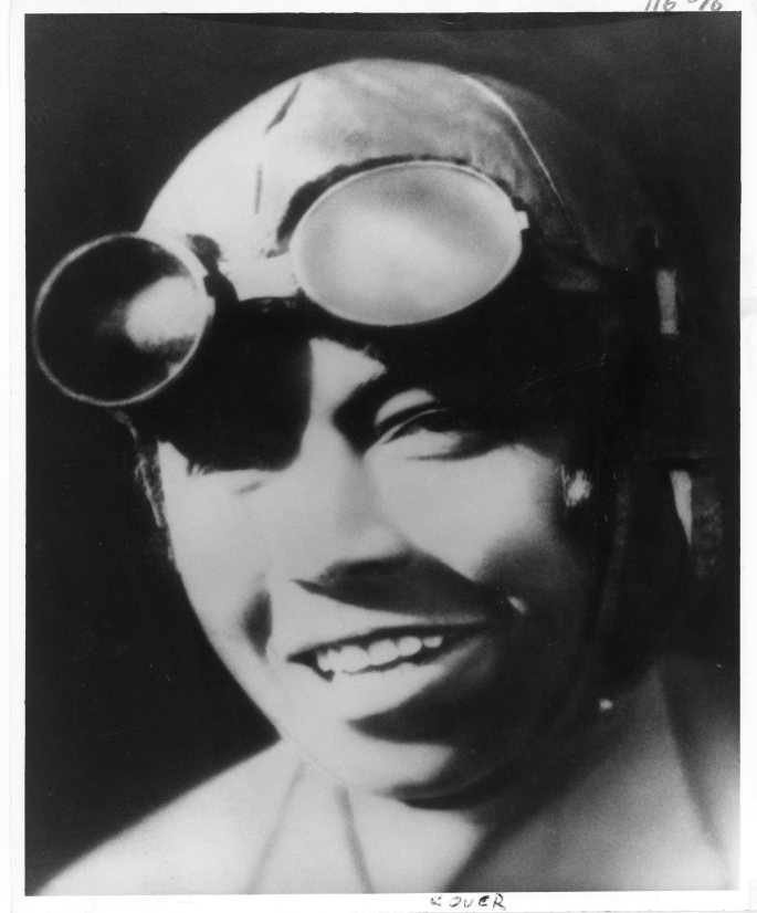 Bessie Coleman with aviator goggles
