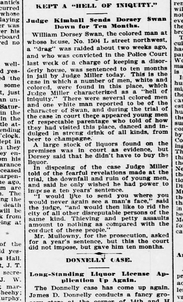 """clipping from the Evening Star: """"Kept a 'Hell of Iniquity'; Judge Kimball Sends Dorsey Swan Down for Ten Months"""""""