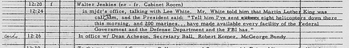 LBJ daily diary entry excerpt regarding a call from Martin Luther King about disappeared civil rights workers