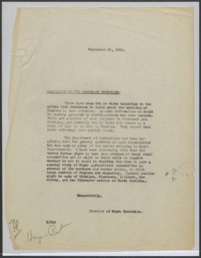 memo proposing a study of Black farming communities and settlement