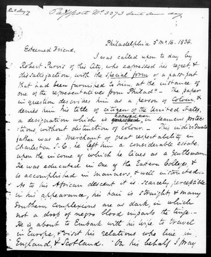 letter protesting the delay in issuing a passport to Robert Purvis