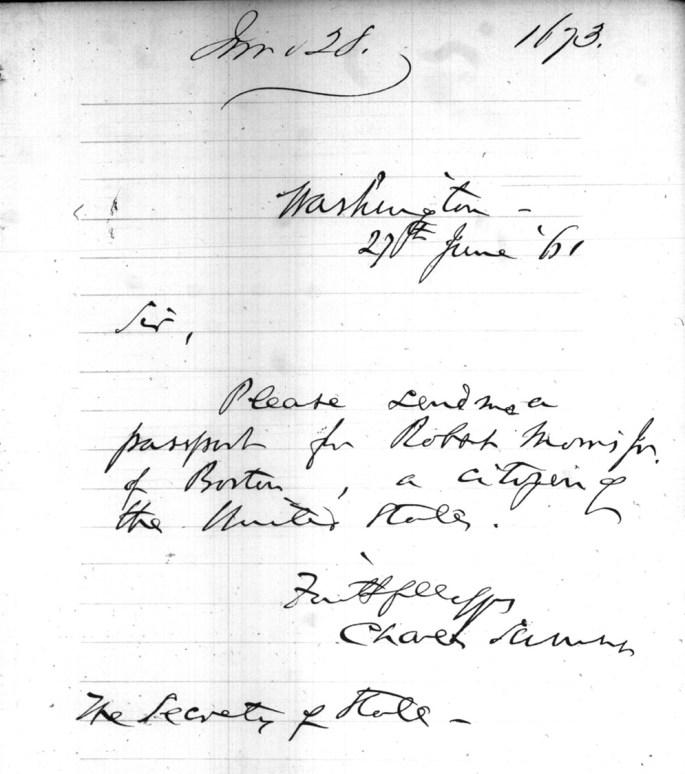 letter from Charles Sumner asking for the passport of Robert Morris, Jr.