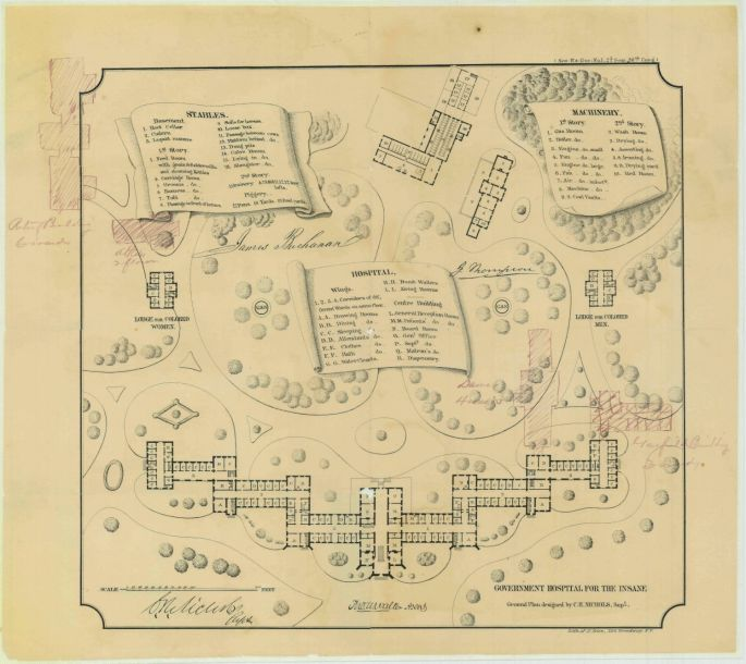 illustrated plan for St Elizabeths Hospital and surrounding grounds