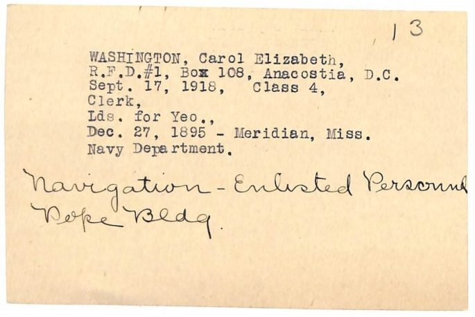 card shows her duty (clerk); date/place of birth (12/27/1895), etc