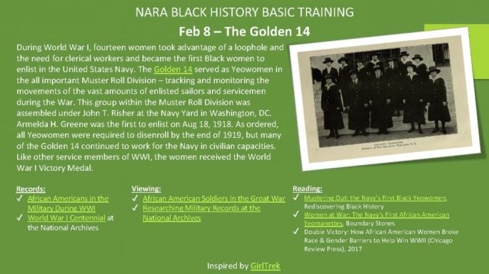 During World War I, fourteen women took advantage of a loophole and the need for clerical workers and became the first Black women to enlist in the United States Navy. The Golden 14served as Yeowomenin the all important Muster Roll Division –tracking and monitoring the movements of the vast amounts of enlisted sailors and servicemen during the War. This group within the Muster Roll Division was assembled under John T. Risherat the Navy Yard in Washington, DC. ArmeldaH. Greene was the first to enlist on Aug 18, 1918. As ordered, all Yeowomenwere required to disenrollby the end of 1919, but many of the Golden 14 continued to work for the Navy in civilian capacities. Like other service members of WWI, the women received the World War I Victory Medal.