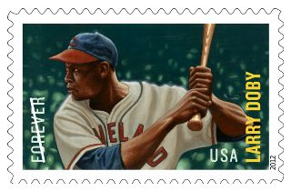 stamp with drawing of Doby in a batting stance, wearing the Cleveland uniform