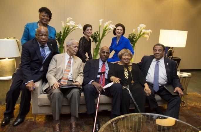 John Lewis, Dr. Bernice King, Julian Bond, Luci Baines Johnson, Lynda Johnson Robb, Vernon Jordan, Mavis Staples, and Andrew Young at the Civil Rights Summit at the LBJ Presidential Library