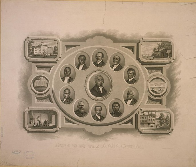 illus. drawn portraits of the 11 Bishops of AME Church, arranged in a circle w/Allen in center