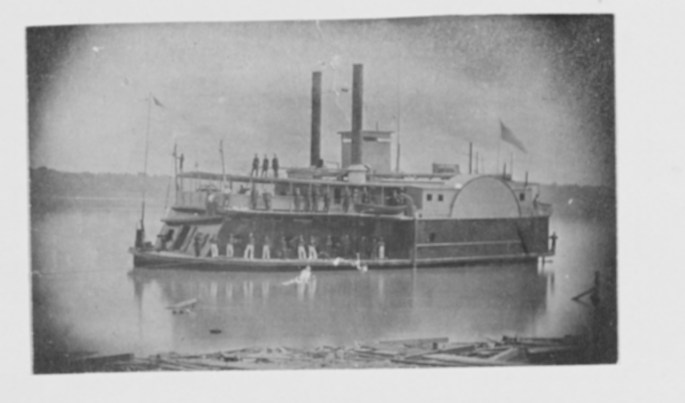 b&w photo of a steamer ship on the Western Rivers during the Civil War