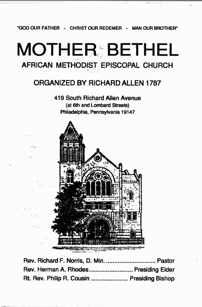 cover of program with drawing of church front, list of pastor and elders