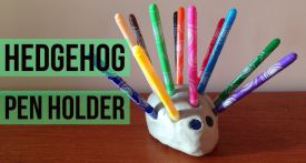 kids craft pen holder, how to make a pen holder, clay hedgehog pen holder, felt tip pen holder, homemade pen holder