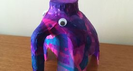 milk bottle elephant, recycle milk bottle craft, how to make milk bottle elephant