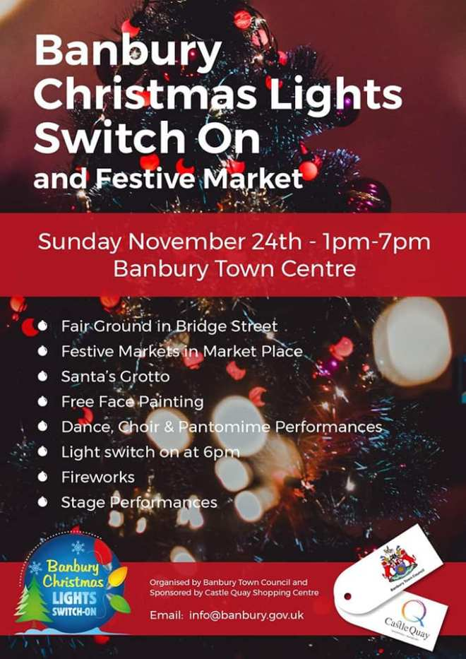 what time at the Banbury christmas lights turned on at, Banbury christmas fireworks