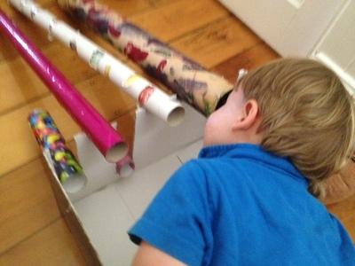 cardboard tube games for kids, cardboard tube car track