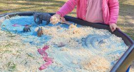 girls playing with dinosaurs at dragon sensory in bucks