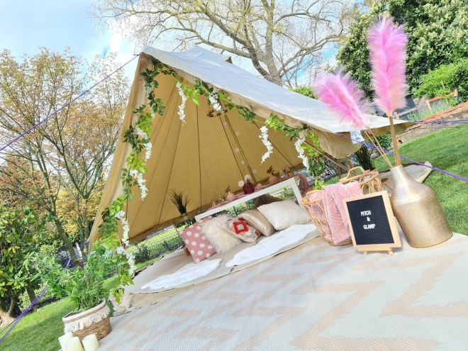 bell tent hire bucks, bell tent hire west london, bell tent hire surrey, summer back garden party idea