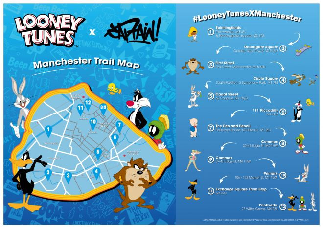 where is the looney tune trail manchester, cartoon trail manchester, looney tunes trail map