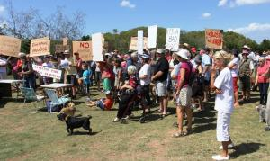 Community protest against Toondah Harbour PDA in February 2014
