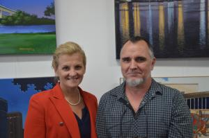 Redland City Mayor Karen Williams with Leo Herreygers of Art Unlimited