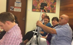 Redlands2030's Tom Taranto videoing a council meeting - photo by the Redland City Bulletin