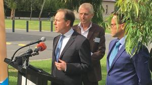 Minister for the Environment Greg Hunt spoke at the event (Photo SBS)